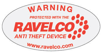 Warning sticker applied to both sides of every ravelco-equipped vehicle tells car thieves not to waste their time.